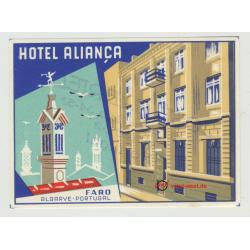 Hotel Alianca - Faro / Portugal (Vintage Luggage Label)