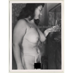 Busty Chubby Nude Female *7 / Suspenders (Vintage Photo ~1940s)