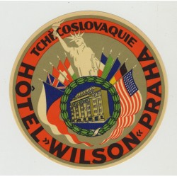 Hotel Wilson - Prague / Czecoslovakia (Vintage Luggage Label) STATUE OF LIBERTY