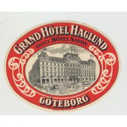 Grand Hotel Haglund - Göteborg / Sweden (Vintage Luggage Label) ANNEX SAVOY