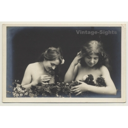 2 French Nudes Covered By Flowers*2 / Belle Epoque - Risqué...