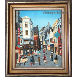 Belgian City Scene / Naive Oil Painting - Signed Frey?...