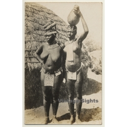 Africa: 2 Topless Native Females / Head-Carrying - Loincloth...