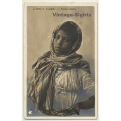 Algèrie & Tunisie: Fillette Arabe Ethnic (Vintage Tinted RPPC...