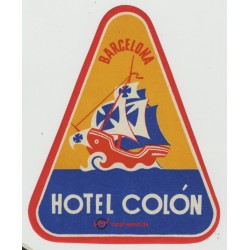 Hotel Colón - Barcelona / Spain (Vintage Luggage Label)