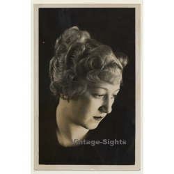 Close-up Of A Blonde Woman's Updo Hairstyle *1 (Vintage RPPC...