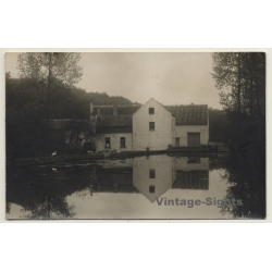 Unidentified Belgian Grange / Reflection In Lake (Vintage RPPC...