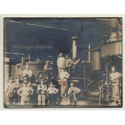 Group Of Workers In Engine Room / Industry (Vintage Photo...