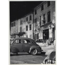 Night Scene in French Village 1960s / Renault 4 (Vintage Real Photo)