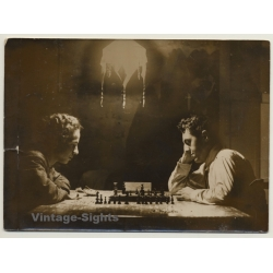 Great Shot Of 2 Guys Playing Chess / Art Deco Lamp (Vintage...