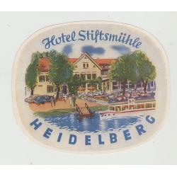 Hotel Stiftsmühle - Heidelberg / Germany (Vintage Luggage Label)