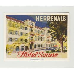 Hotel Sonne - Herrenalb (Black Forest) / Germany (Vintage Luggage Label)