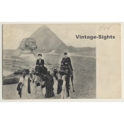 Gizeh / Egypt: Sphinx Pyramide / Camels & Tourists (Vintage PC...