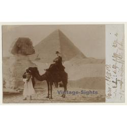Gizeh / Egypt: Sphinx Pyramide / Tourist On Camel (Vintage...