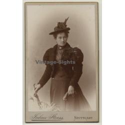 Julius Stoess / Stuttgart: Young Woman In Victorian Dress*2 /...