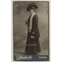 L. Wronker & Co / Pforzheim: Woman In Victorian Dress / Huge...