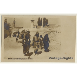 Wandering Bedouins In Syria / Camels (Vintage RPPC Sepia ~1910s)