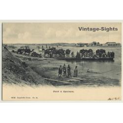 Qantara / Egypt: Pont à Kantara / Camels On Ferry (Vintage PC...