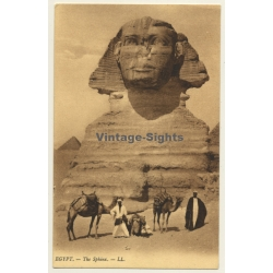 Egypt: The Sphinx / Camels - Bedouins (Vintage PC Levy & Fils)