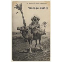 367 Méhariste Dans Oasis Du Sud Algérien / Camel Cavalry...