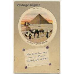 Egypt: Nouvelle Année - Le Sphinx / Camels (Vintage PC LL...