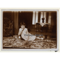 Little Girl Lingers On Real Leopard Skin / Colonial Times -...