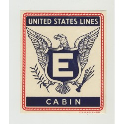 United States Lines - E Cabin  (Vintage US Shipping Line Luggage Label)
