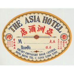 The Asia Hotel / Hong Kong (Vintage Luggage Label)