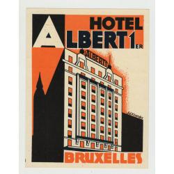 Hotel Albert 1er - Bruxelles / Belgium (Vintage Luggage Label) ART DECO