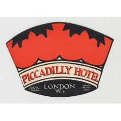 The Piccadilly Hotel - London / UK (Vintage Luggage Label)