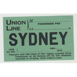 Union Line / Sydney - Passenger Cabin (Vintage Shipping Line Luggage Label)