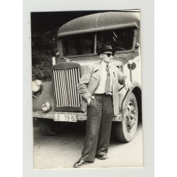 Smart Dressed Guy In Front Of Vintage Bus / Gay INT (Vintage Amateur Photo 1930s/1940s)