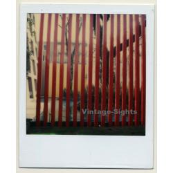 Photo Art: Red Wooden Fence / Tree (Vintage Polaroid SX-70 1980s)