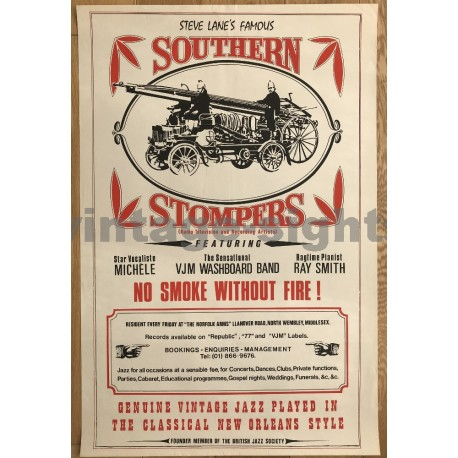 Steve Lane's Famous Southern Stompers (Vintage Jazz Concert Poster)