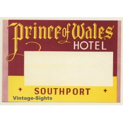 Southport / UK: Prince Of Wales Hotel (Vintage Luggage Label)