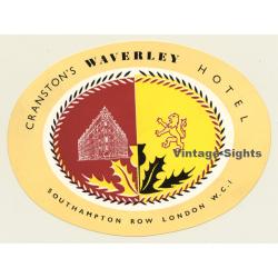London / UK: Cranston's Waverley Hotel (Vintage Luggage Label)