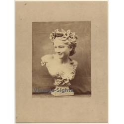 Antique Bust: Pretty Girl With Wreath Of Flowers / Torso...
