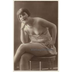 134: Sitting Nude / Hairstyle - Boobs Flash Boudoir (Vintage...
