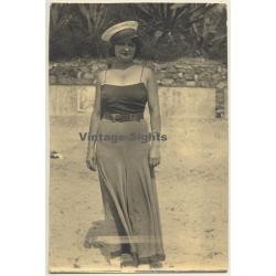 Woman In Elegant Beach Dress / Captain's Hat (Vintage Photo 1932)