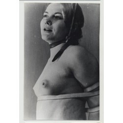 Close Up Of Tied Female Slave / Eyes - BDSM (Vintage Amateur Photo B/W 60s)
