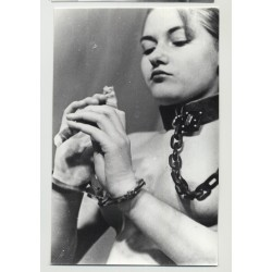Female Slave In Chains Tries To Eat / Eyes - Tiny Boobs (Vintage Amateur Photo B/W 60s)