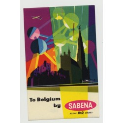 To Belgium By Sabena Belgian World Airlines (Vintage Airline Luggage Label)