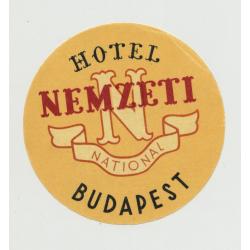 National Hotel Nemzeti - Budapest / Hungary (Vintage Luggage Label)