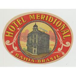 Hotel Meridional - Bahia / Brazil (Vintage Luggage Label)