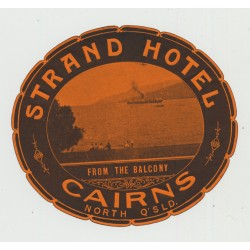 Strand Hotel - Cairns, North Queensland / Australia (Vintage Luggage Label)