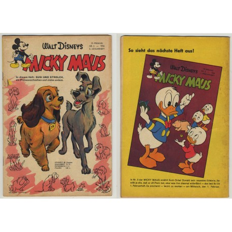 Micky Maus Nr.2 - 1956 / 2. Januarheft Susi Und Strolch (Original Vintage Comic)