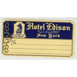 Hotel Edison - New York / USA (Vintage Luggage Label)