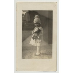 Sweet Little Girl & Teddy Bear / Knit Hat & Costume (Vintage Photo ~1940s)
