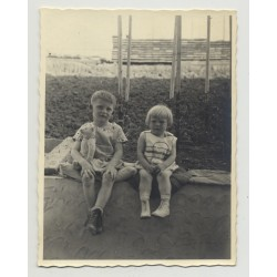 2 Blonde Sisters & Teddy Bear Sit On Wall (Vintage Photo 1931)
