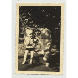 Baby & Teddy Bear Out In Garden: Who's Bigger? (Vintage Photo ~1940s/50s)